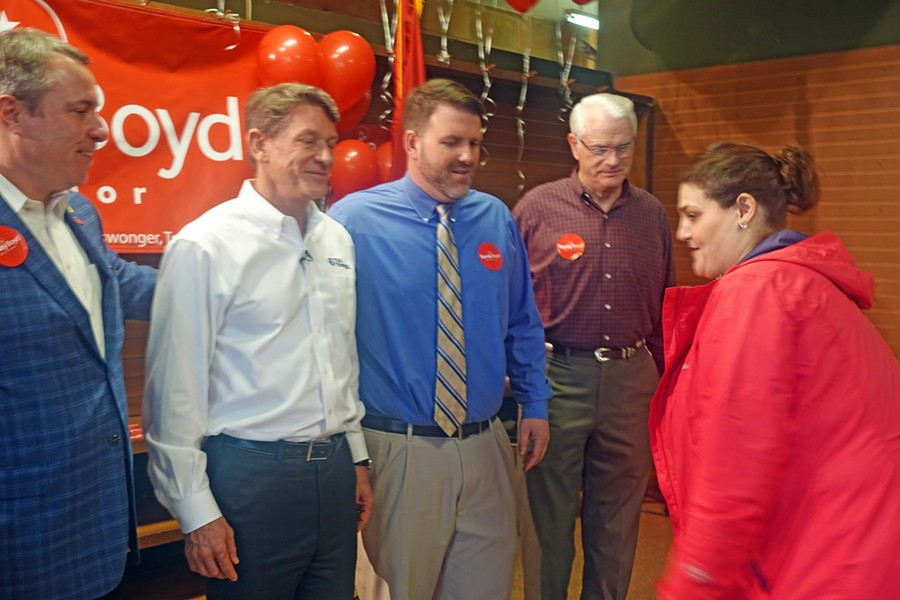 Germantown Mayor Mike Palazzolo, gubernatorial candidate Randy Boyd, Commissioner David Reaves, Mayor Mark Luttrell, and Boyd aide Bonnie Brezina at the candidate's Memphis headquarters opening - JB