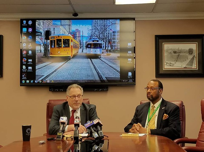 MATA CEO Gary Rosenfeld (left) and COO Alvin Pearson announce the return of the trolleys during a news conference. - MEMPHIS AREA TRANSIT AUTHORITY