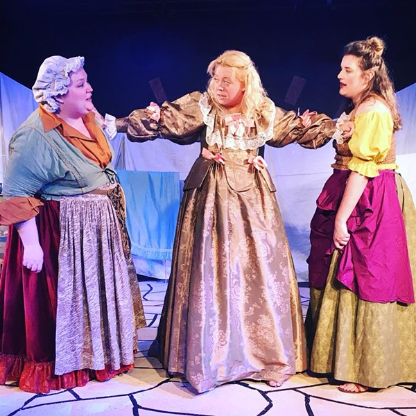 Burn the witches! Wait, that's another play. But what else could three women be doing on stage together other than witchery? It's a mystery.