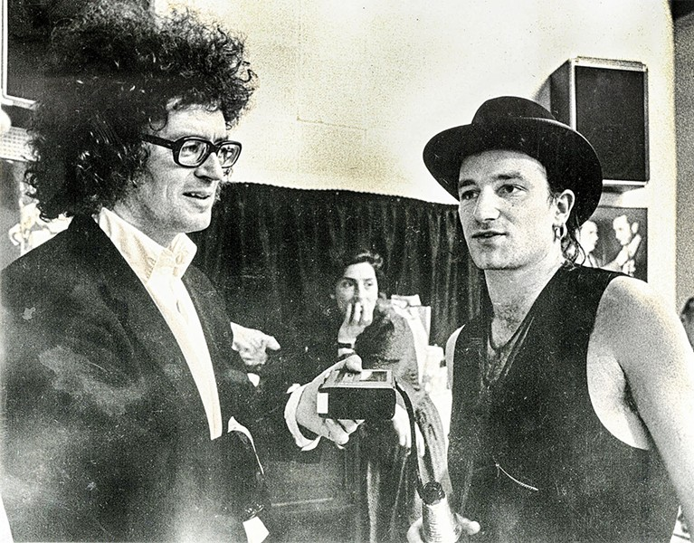 Michael Donahue interviews Bono in 1987 at Sun Studios.  That's Donahue on the left. - TOM BUSLER