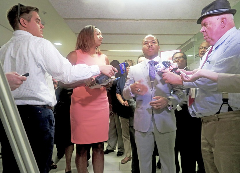 Lamar and Strong with media at Democrats' press conference - JB