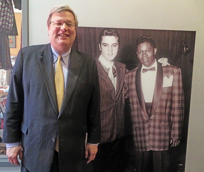 No, Elvis and BB, as famously pictured by Ernest Withers, are not quite life-size, but even if they were, they'd have had to defer, size-wise, to Memphis Mayor Jim Strickland, who held a successful fund-raiser in the Withers Museum and Studio on Thursday night. - JB