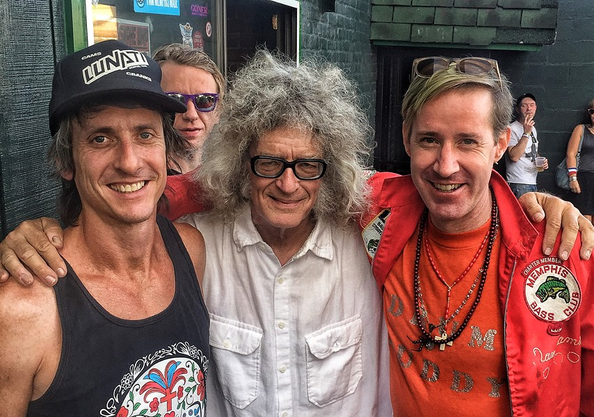 In addition to hearing great music, Gonerfest is a chance to see old friends. In my case, I ran into filmmaker Geoffrey Brent Shrewsbury, chef Brett Shaggy Duffee from New Orleans and, in the background, musician Abe White, who now lives in New Orleans. - ANNE SCOTT BARRETT