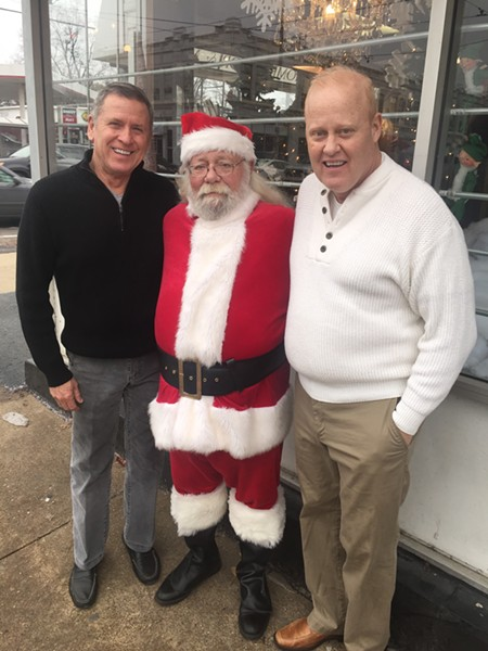 Larry Tyger, Santa Claus and Chuck Guthrie at Market on Madison open house. - MICHAEL DONAHUE