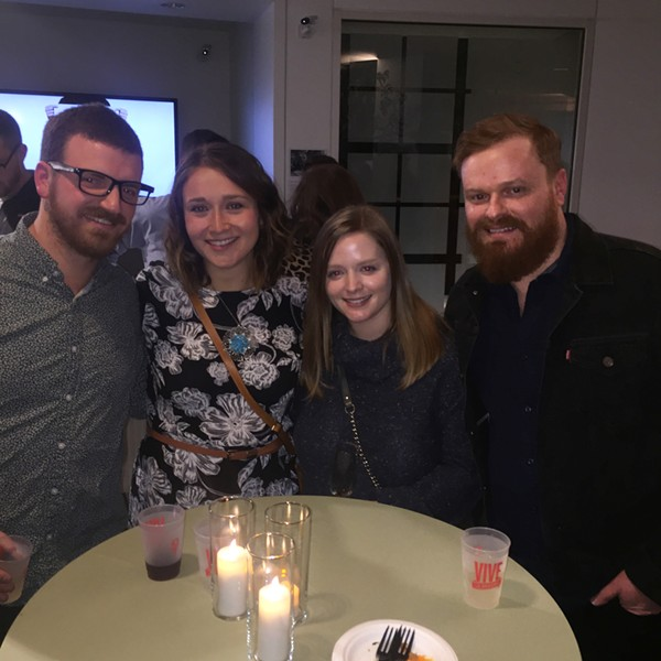 Spencer Coplan, Jordan Ayers, Grace Peterson and Chad Harrison at Vive le Brooks! launch party. - MICHAEL DONAHUE