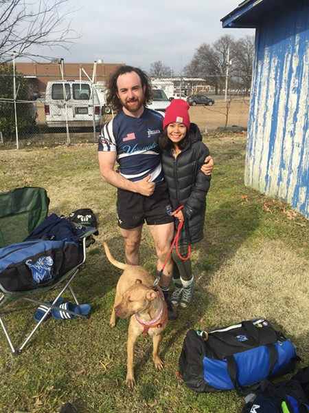 August Stevens, Anna Vo and Mungo were at the Memphis Blues Rugby Club season opener. - MICHAEL DONAHUE