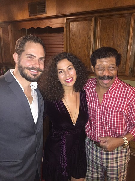 Michael Fahr, Zeina Alwafai and Eugene Phillips at Phillips birthday party. - MICHAEL DONAHUE