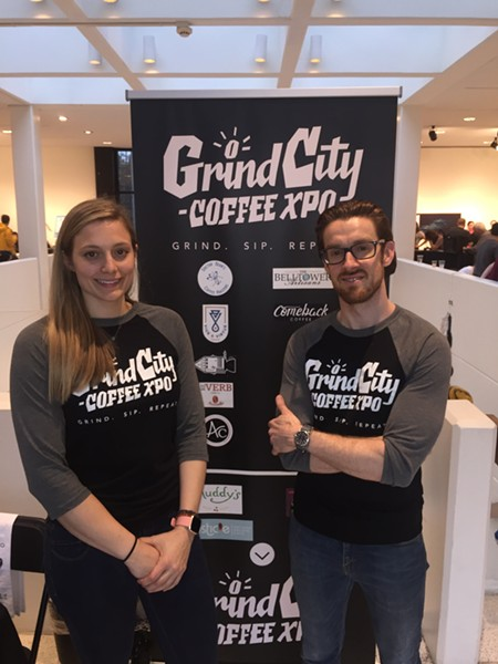 Rachel Williams and Daniel Lynn at Grind City Coffee Expo. - MICHAEL DONAHUE