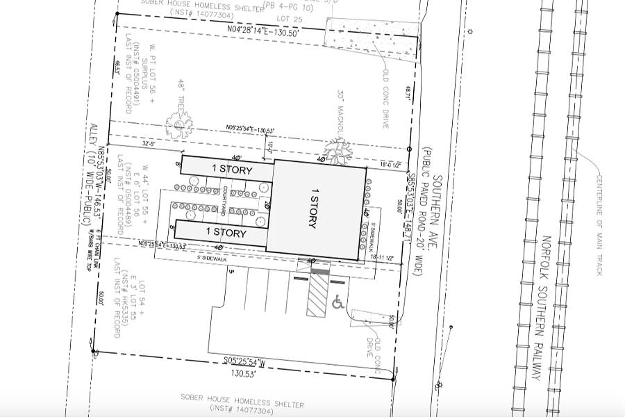 A site map shows how the group would use shipping containers to build its shelter. - MEMPHIS AND SHELBY COUNTY OFFICE OF PLANNING AND DEVELOPMENT