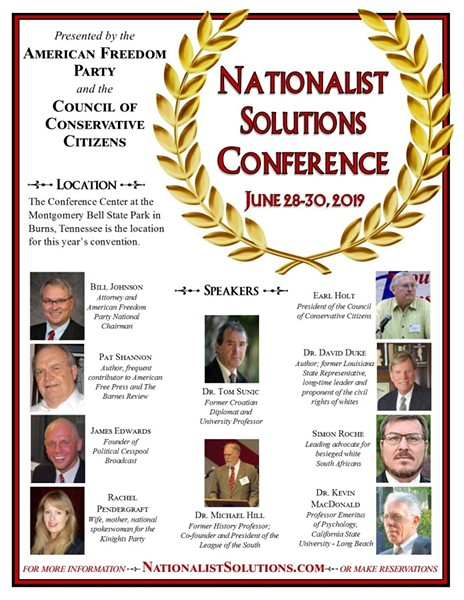 A flyer for the Nationalist Solutions shows featured speakers, including former KKK Grand Wizard David Duke. - NATIONALIST SOLUTIONS