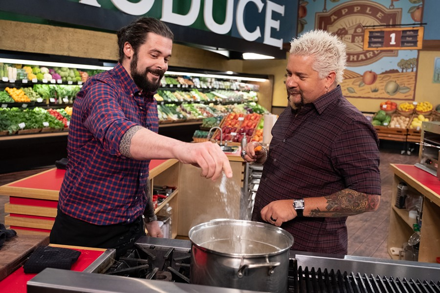 "Keith Clinton and Guy Fieri on ""Guy's Grocery Games."""