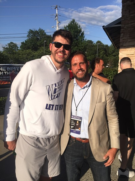 Mike Miller and David Rodriguez at the Let It Fly Sports Bar media party. - MICHAEL DONAHUE