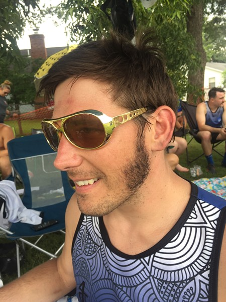 Justin Alden of the Memphis Blues Rugby Club came in second place in the Mr. Sideburns contest. - MICHAEL DONAHUE