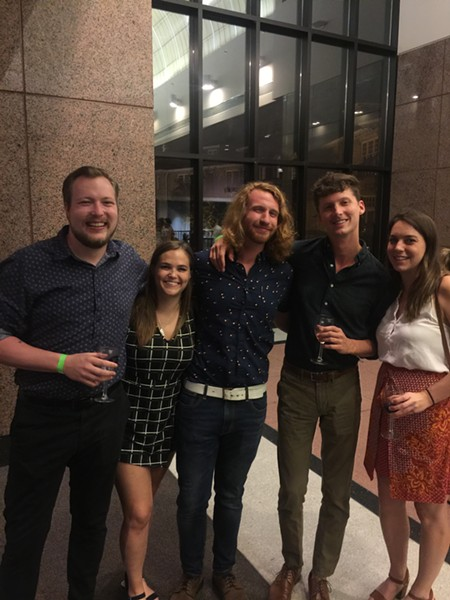 "Matt Strong, Taylor LaPorte, Daniel ""Big Red"" Quinlan, Lee Blankenship, and - Cassie Wiegmann were at Science of Wine. - MICHAEL DONAHUE"