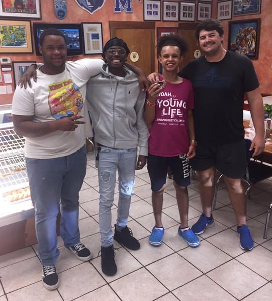 Kaleb Macklin, Jaelon Wilson, Ryan Garcia,  Robby Watson at Gibson's Donuts. - MICHAEL DONAHUE