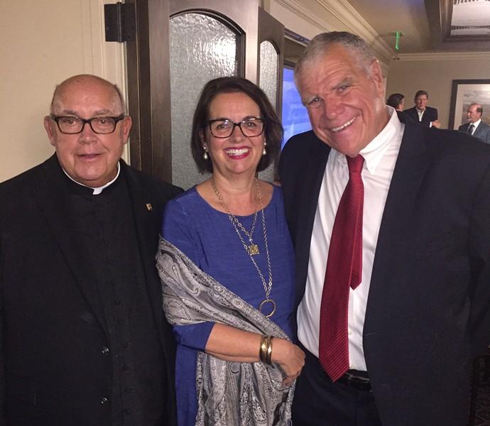 Msgr. Peter Buchignani, Nancy and Tony Lanigan at Ave Maria's Gala Dinner. - MICHAEL DONAHUE