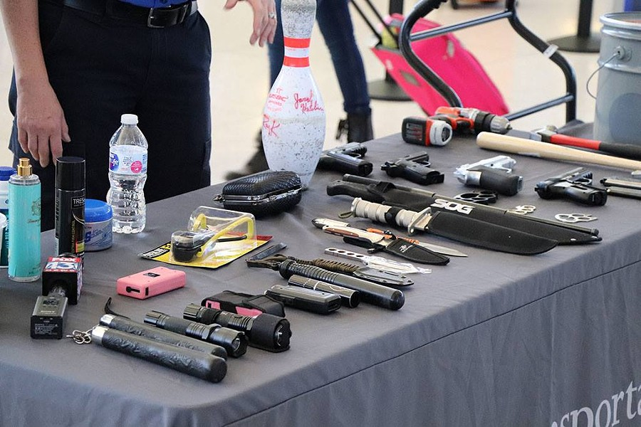 A TSA display of some of the items seized by airport security (2017). - MEMPHIS INTERNATIONAL AIRPORT