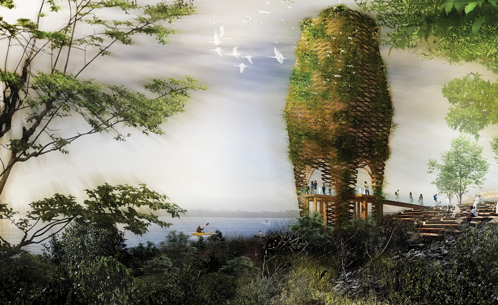 A wildlife observation tower proposed in the original redesign of the park. - STUDIO GANG