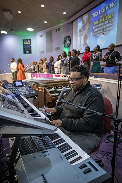 Calvin Barnes, Minister of Music at Olivet Fellowship Baptist Church, on keyboards