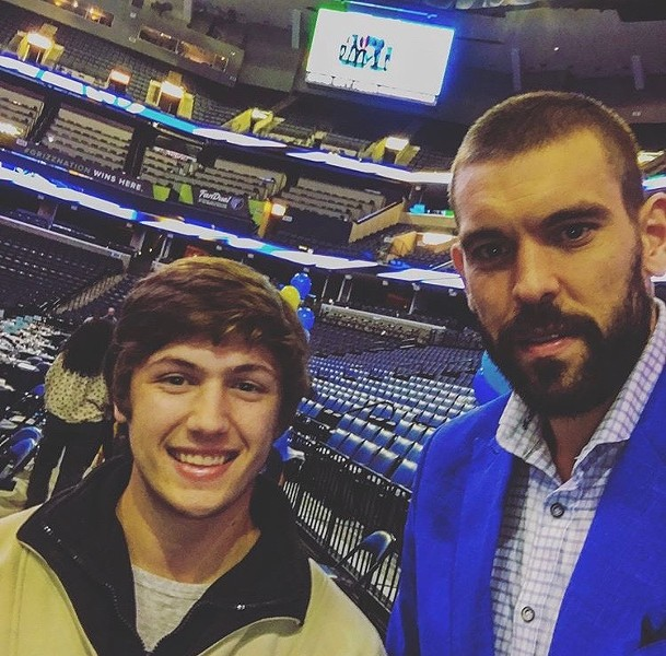 Marc Gasol with Colton Rhoads.