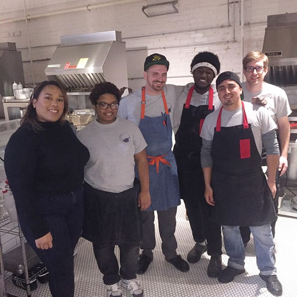 Ashley Phoummavong, Amaia Johnson, Spencer Coplan, Gerald Darling, Omar Hernandez, and Ben Curtis at the Jewish Chinese Culinary Mashup dinner. - MICHAEL DONAHUE