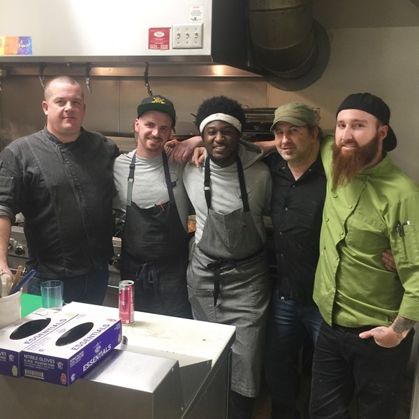 Nate Oliva, Spencer Coplan, Gerald Darling, Spencer McMillin, and Conrad Phillips at the Homebrewer's Dinner. - MICHAEL DONAHUE