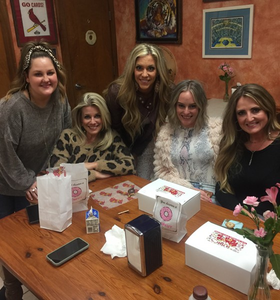 Holly Long, Lindsey Gammel, Shawn Whitworth, Lauren Poteet, and Laura Davidson at  Gibson's Donuts. They work or have worked at Ella David Salon. - MICHAEL DONAHUE