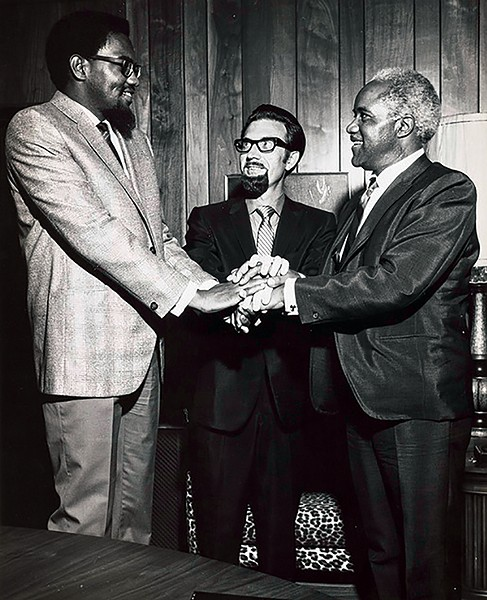 (l-r) Al Bell, Jim Stewart, - Pops Staples - COURTESY OF STAX ARCHIVES