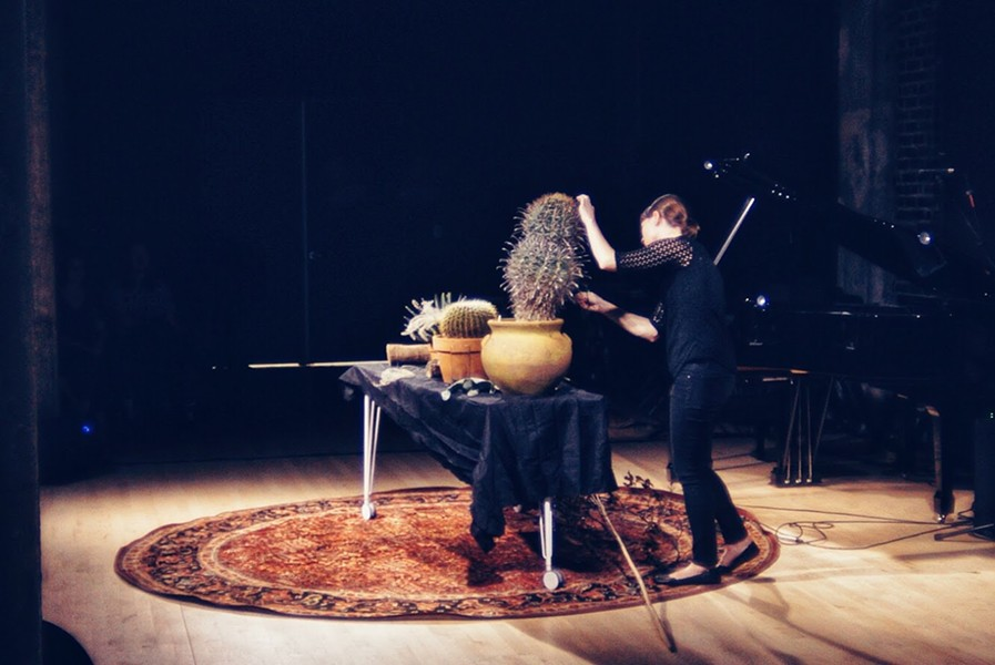 """Jenny Davis plays amplified cacti in John Cage's """"Child of Tree"""" - BEN REDNOUR"""