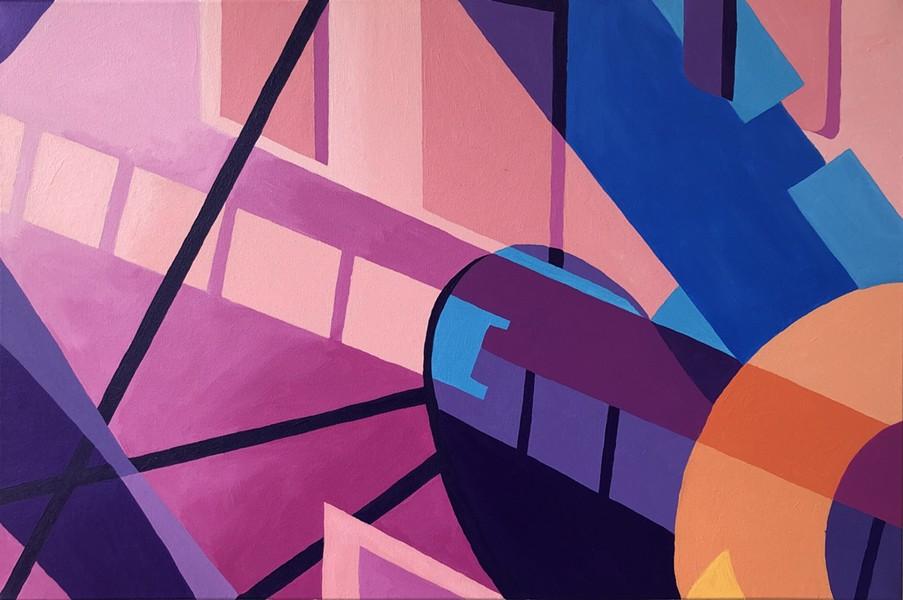 """The Station"" by Emily Warren, 2020, acrylic on canvas, 24 x 36″ - EMILY WARREN"