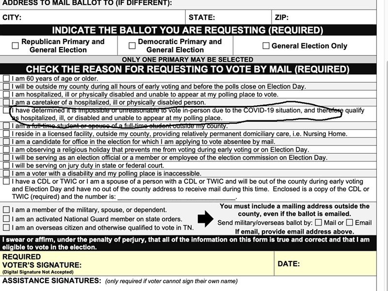 Circled is the line on the State's version of a mail-in ballot application found to be misleading by Chancellor Lyle