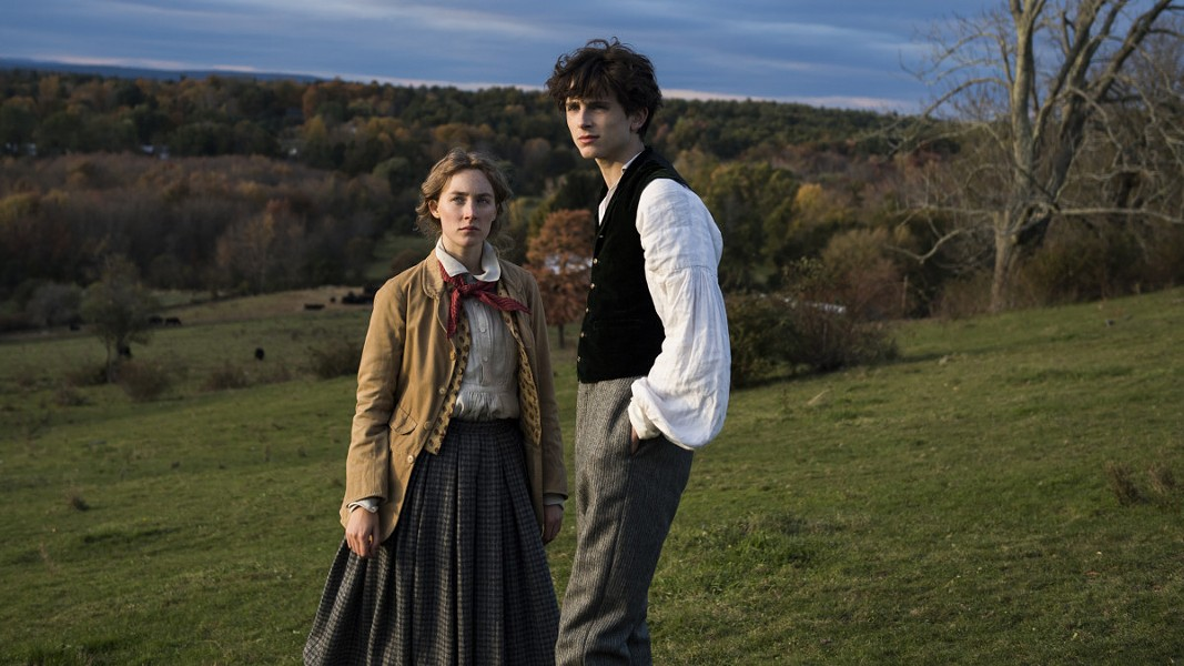 Jo and Laurie take a walk in the New England countryside.