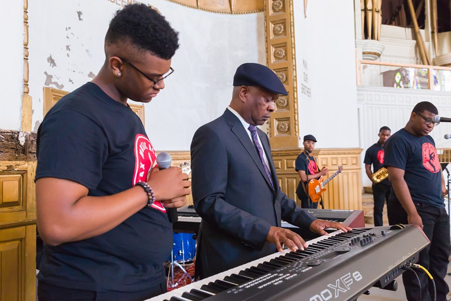 Booker T. Jones with Stax Music Academy students - COURTESY STAX MUSIC ACADEMY