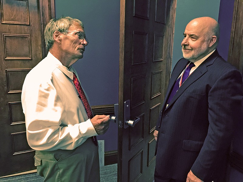 Tempers had cooled by this point, but things got hot and havy Thursday when Joe Cooper appealed his ineligible status as a Council candidate to Election Coordinator Rich Holden. - JB