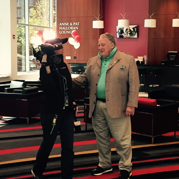 Pat Halloran pops a collar and does an interview.