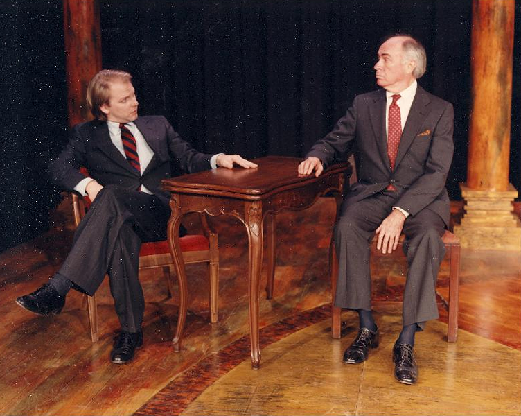 "Terry Scott and Bennett Wood in ""The School for Scandal"" at Rhodes' McCoy Theatre. - COURTESY OF THE INTERNET"