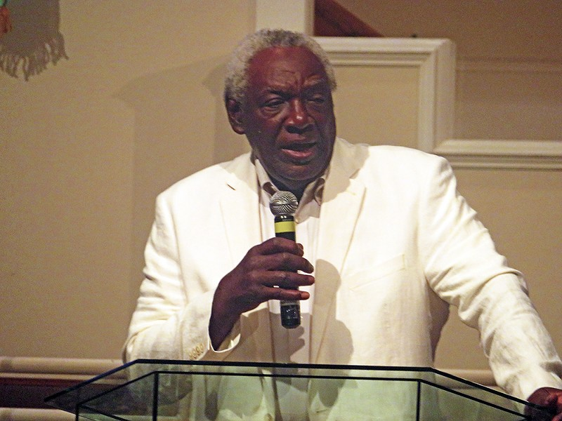 Commissioner Walter Bailey was one of several speakers at Sunday night rally. - JB