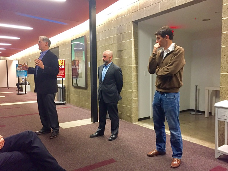 Bob Loeb, president of Loeb Properties (right), makes his case to the crowd on Tuesday evening as Brian Stephens of Caissa Public Strategies (center), and Memphis City Council member Worth Morgan (right) look on. - TOBY SELLS