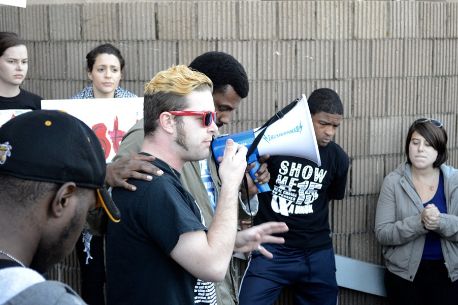 Paul Garner, a local organizer that made the city hall watchlist, speaks at a rally for Darrius Stewart in front of the justice complex at 201 Poplar in late 2015. - MICAELA WATTS