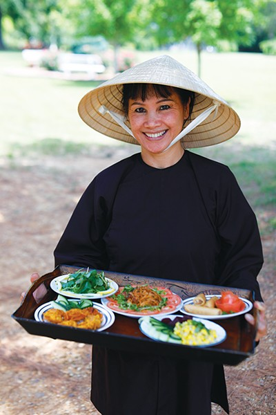 The nuns say a kitchen bodhisattva prayer that expresses gratitude for being able to prepare and offer food to their community and recognition that the most important food is joy, love, and harmony.