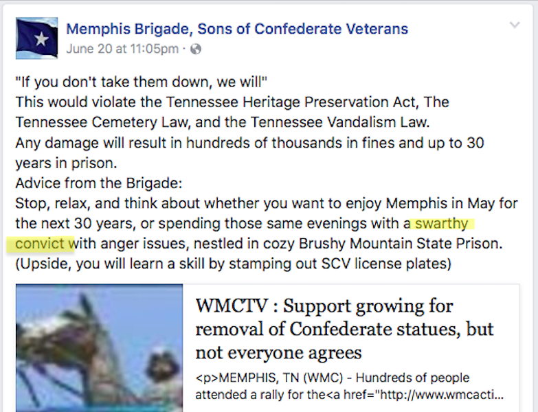 FACEBOOK, MEMPHIS BRIGADE, SONS OF CONFEDERATE VETERANS
