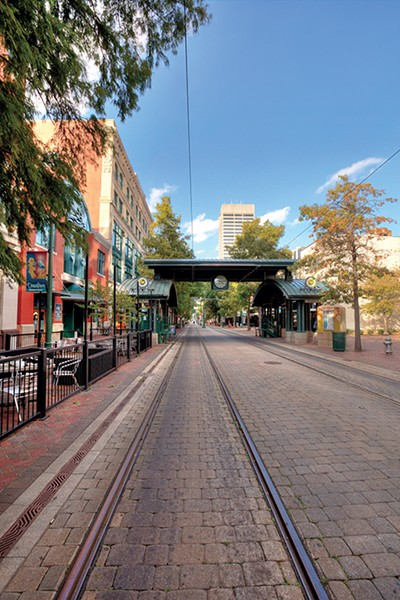 Trolley tracks on South Main on the mall