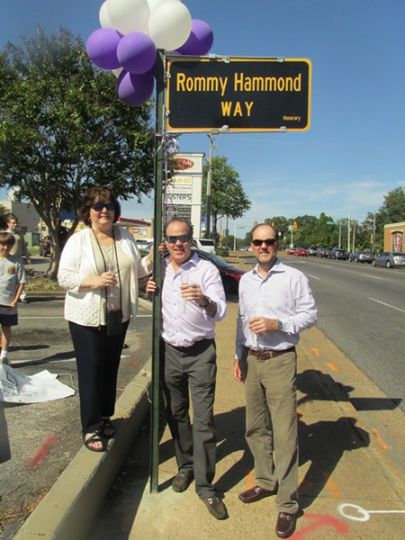 "Gay, Josh and Morgan Hammond at the ""Rommy Hammond Way"" dedication. - MICHAEL DONAHUE"