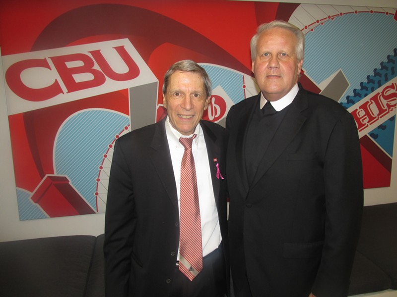 CBU president Dr. John Smarrelli Jr. and Brother Chris Englert were at the CBU Crosstown Concourse opening celebration. - MICHAEL DONAHUE