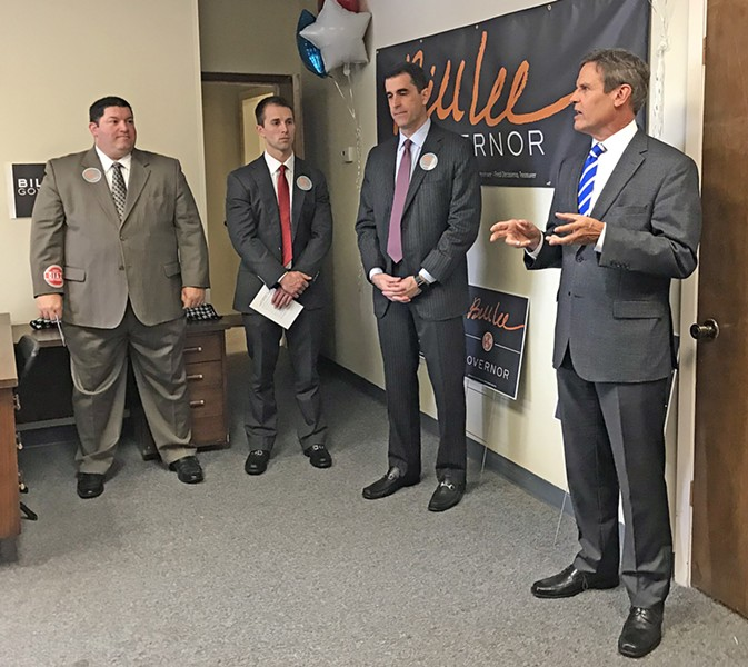 """GOP gubernatorial candidate Bill Lee laid out his """"Commitment to Memphis and Shelby County """" at the opening of his local headquarters on Poplar Avenue. on Wednesday. Among those present were (l to r) Geoff Diaz. Will Patterson, and Lang Wiseman. Wiseman is Lee's local campaign chaiurnan. - JB"""