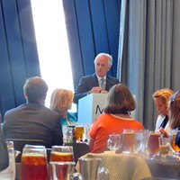 Take Two: the 2016 Conventions Senator Bob Corker, here at a delegation lunch, turned down a chance to address the full convention. JB