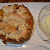 Jenny Dempsey's home-made mango-orange cobbler and home-made vanilla ice cream at McEwen's.
