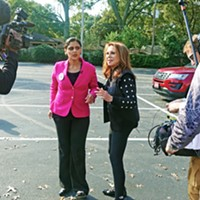 State Senate candidate Gabby Salinas (left) and supporter Marlo Thomas of St. Jude prepare to meet with the media on Saturday.