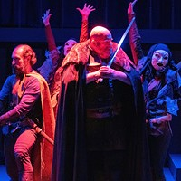 Michael Khanlarian (Banquo), Paul Kiernan (Macbeth), and the Witches. Through Nov. 4.