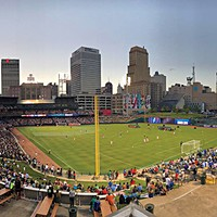 A full house watches Memphis 901 FC at AutoZone Park.